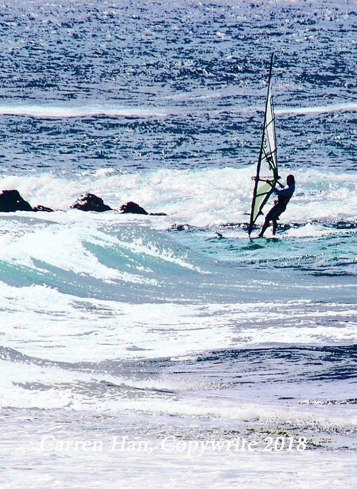 Windsurfer Headed for Rocks