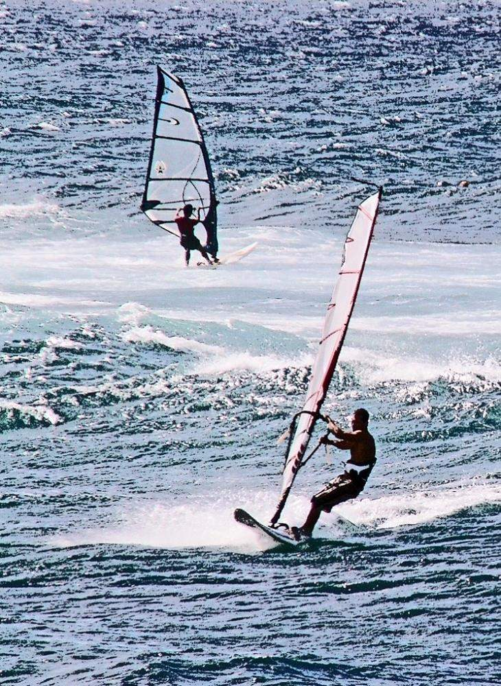 Windsurfers Back and Forth