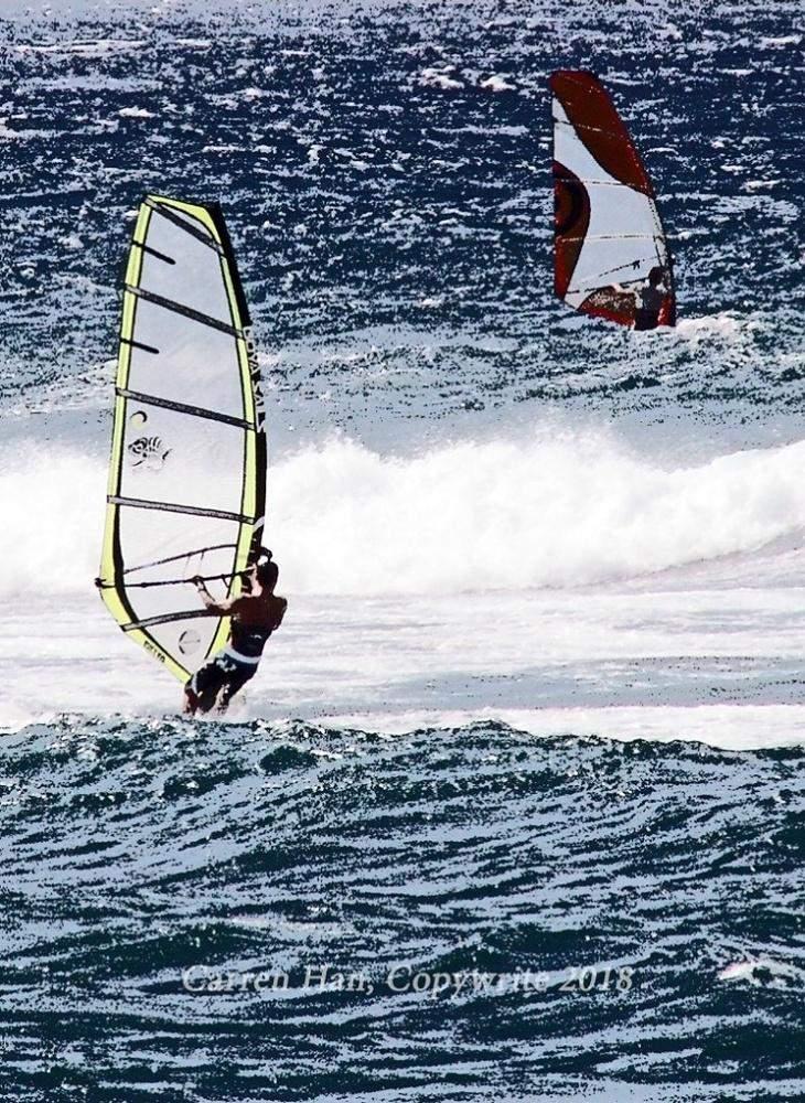 Windsurfers Ride the Wave